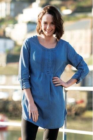 Frugi Organic Cotton Denim Pintuck Maternity Or Breastfeeding Tunic