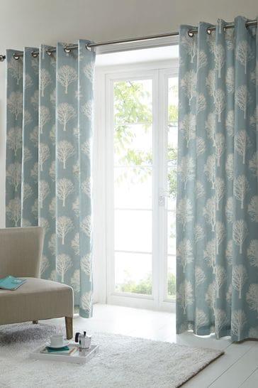 Fusion Woodland Trees Jacquard Lined Eyelet Curtains