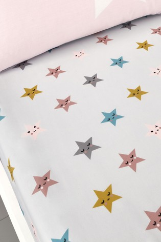 Set of 2 Cosatto Pink Happy Stars Cot Fitted Sheets