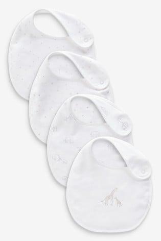 White 4 Pack GOTS Organic Delicate Multi Print Bibs