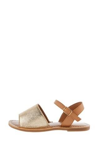 Monsoon Gold Zeta Peep-Toe Leather Sandals