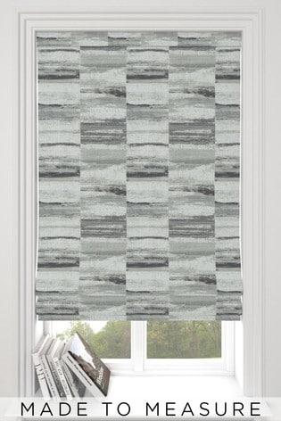 Chenille Block Stripe Mono Grey Made To Measure Block Stripe Roman Blind
