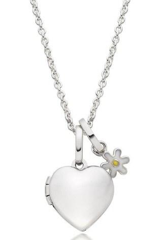 Beaverbrooks Children's Silver Flower Charm And Heart Locket