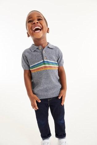 Grey Rainbow Stripe Knitted Polo (3mths-7yrs)