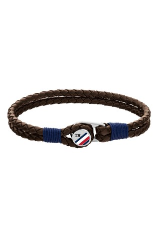 Tommy Hilfiger Mens Button Leather Bracelet