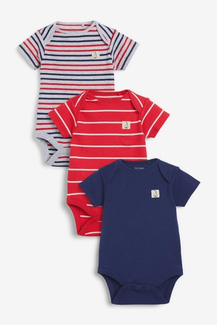Multi Stripe 3 Pack Short Sleeve Bodysuits (0mths-3yrs)