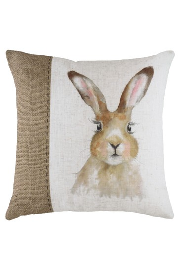 Hand Painted Hare Linen Blend Cushion by Evans Lichfield