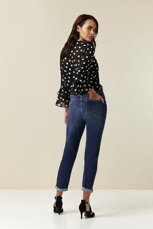 Wallis Petite Blue Denim Roll-Up Jeans