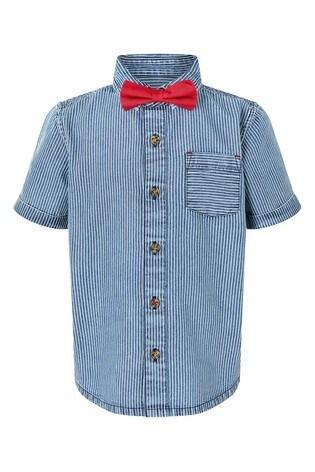Monsoon Blue Boys Blue Stripe Shirt And Bow Tie