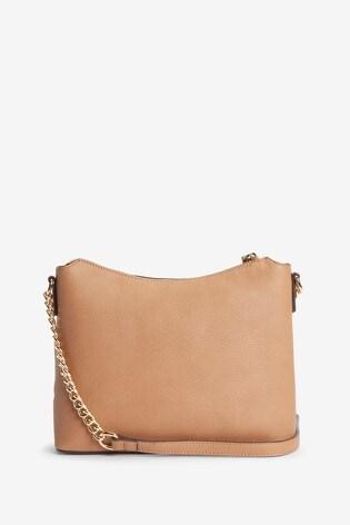 Tan Zip Detail Across Body Bag