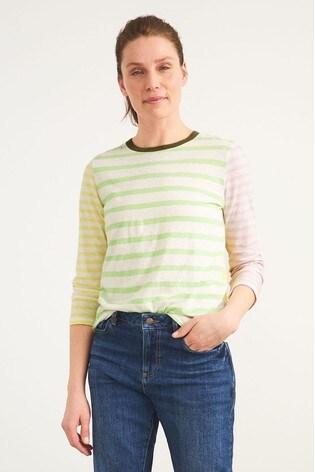 White Stuff Green Mixed Stripe T-Shirt