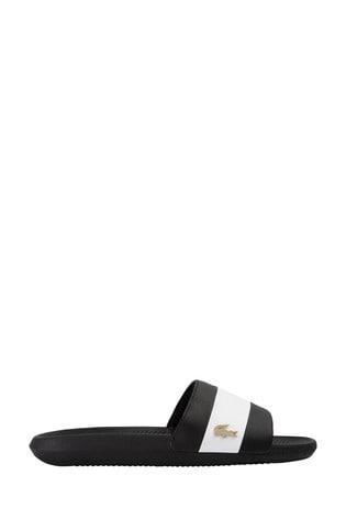 Lacoste® Black Croco Sliders