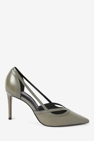 Green Signature Leather High Cut Out Court Shoes