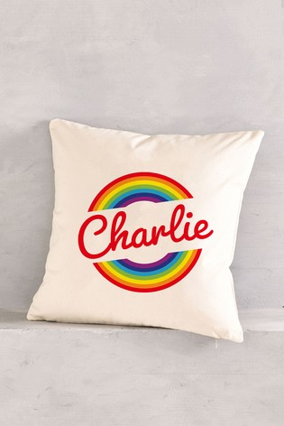Personalised Rainbow Cushion by Loveabode