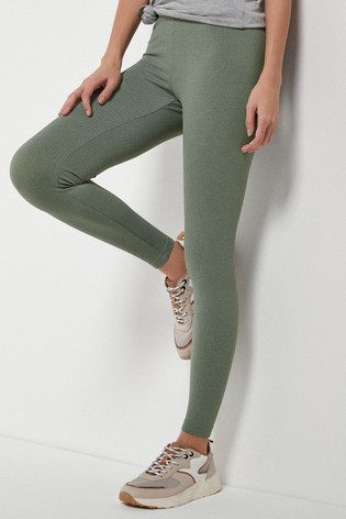 Khaki Full Length Ribbed Leggings