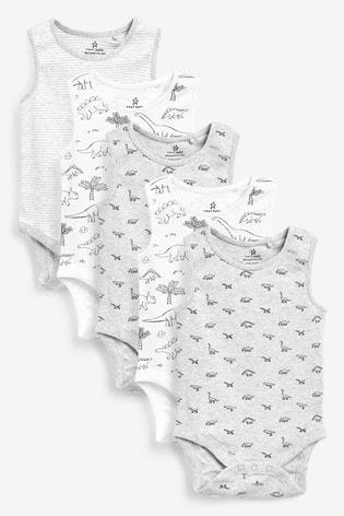 Grey 5 Pack Dinosaur Vest Bodysuits (0mths-3yrs)