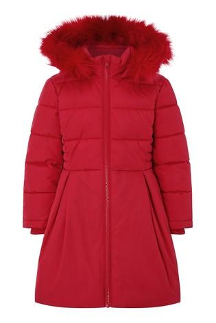 Monsoon Red Pleat Padded Coat