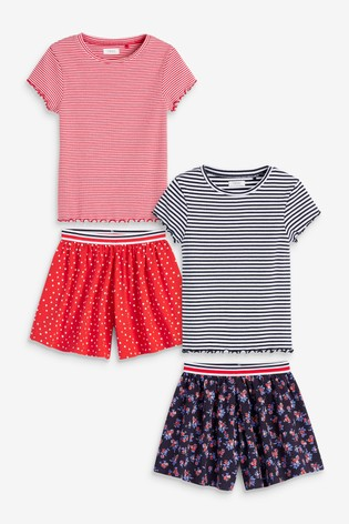 Navy/Red 4 Pack T-Shirt And Shorts Set (3-16yrs)