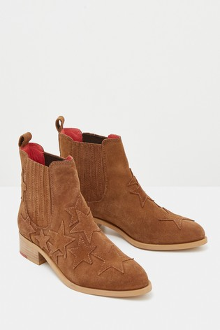 White Stuff Tan Shelly Star Suede Ankle Boots