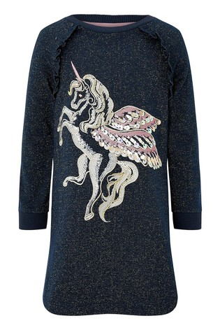 Monsoon Navy Unicorn Sparkle Sweat Tunic