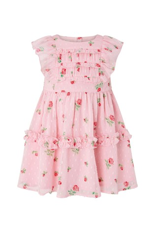 Monsoon Pink S.E.W. Baby Roses Ditsy Dress