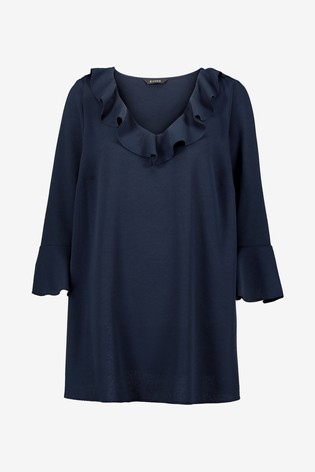Evans Curve Navy Frill Sleeve Top