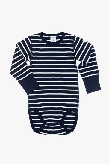 Polarn O. Pyret Blue Organic Cotton Striped Bodysuit