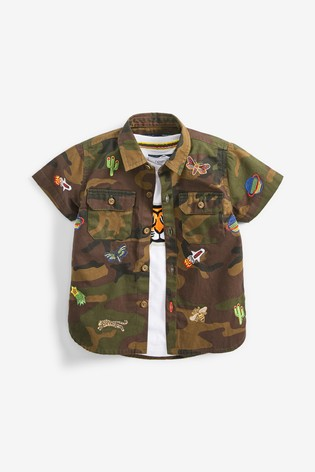 Camouflage Short Sleeve Embroidered Shirt And Tiger T-Shirt (3mths-7yrs)