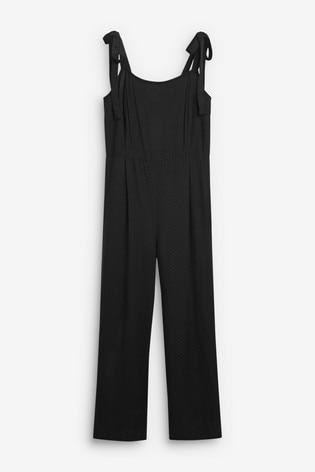 Black Tie Shoulder Jumpsuit