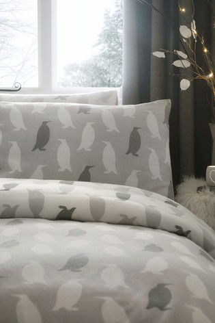 Fusion Grey Brushed Cotton Penguin Silhouette Duvet Cover and Pillowcase Set