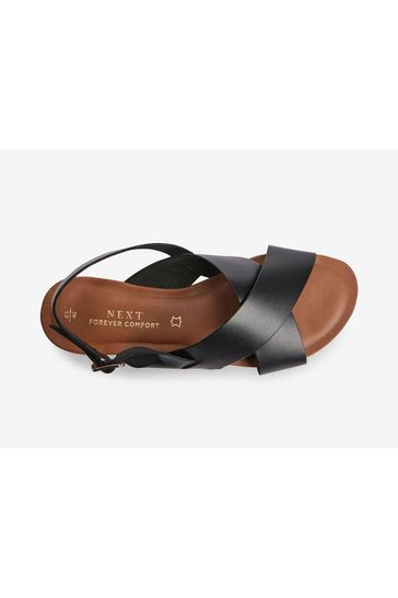 Black Regular/Wide Fit Forever Comfort® Cross Front Slingback Sandals