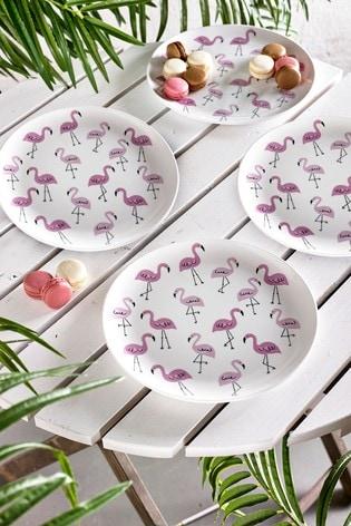 Flamingo Set of 4 Dinner Plates