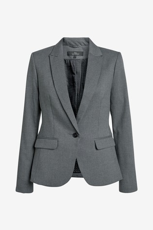 Grey Marl Single Breasted Tailored Fit Jacket