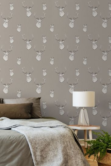 Catherine Lansfield Brown Stag Wallpaper