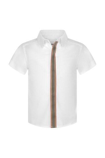 Baby Boys White Cotton Short Sleeve Shirt