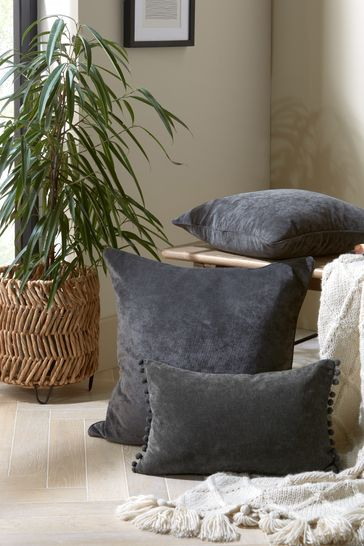 Charcoal Grey Soft Velour Pom Edge Rectangle Cushion