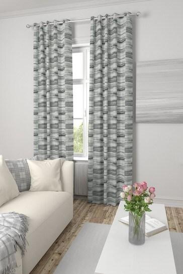 Chenille Block Stripe Mono Grey Made To Measure Curtains