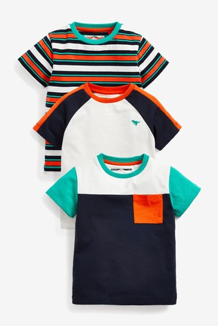 Orange/Navy 3 Pack T-Shirts (3mths-7yrs)