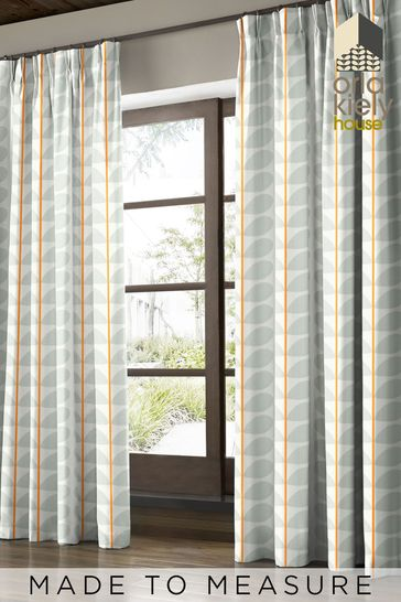 Two Colour Stem Warm Grey Made To Measure Curtains by Orla Kiely