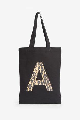 Black Animal Organic Cotton Reusable Monogram Bag For Life