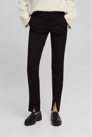 Esprit Black Slim Trousers With Split Hem