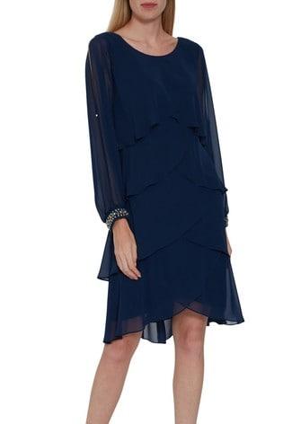 Gina Bacconi Blue Sakura Chiffon Tiered Dress