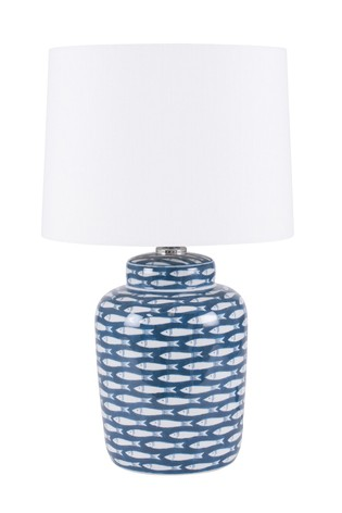 Schoal Blue/White Fish Detail Ceramic Table Lamp by Pacific