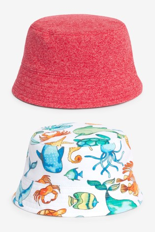 Multi 2 Pack Sea Life Bucket Hats (0mths-2yrs)