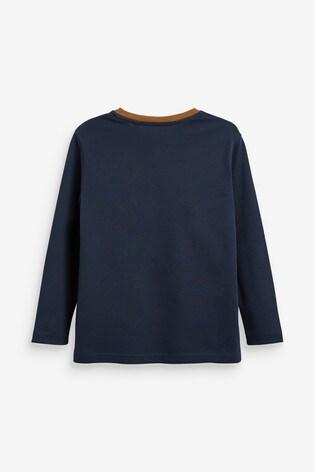 Tan/Navy Colourblock Long Sleeve T-Shirt (3-16yrs)