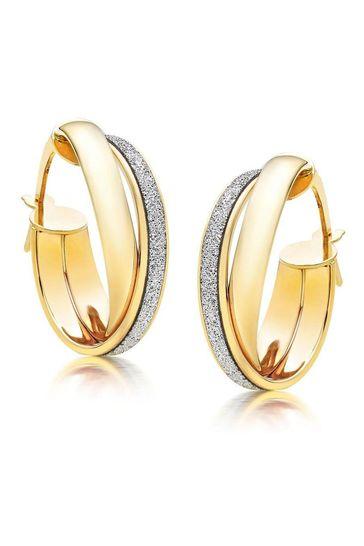 Beaverbrooks 9ct Glitter Hoop Earrings