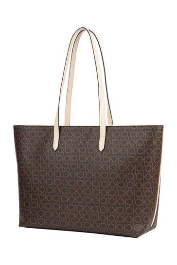 Calvin Klein Brown Mono Shopper Tote Bag