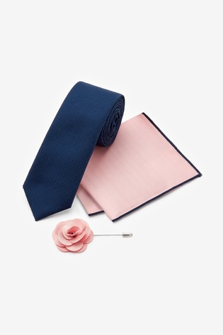 Navy/Pink Slim Tie With Pocket Square And Pin Set