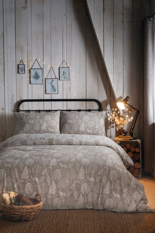 Brushed Cotton Winter Forest Duvet Cover and Pillowcase Set by Fusion