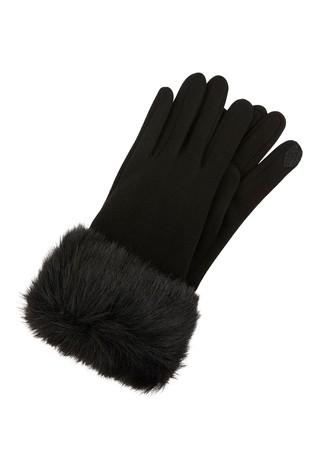 Accessorize Black Cuff Touch Phone Gloves